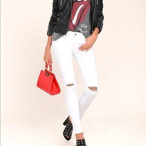 NEW Lulu's White Distressed Skinny Jeans!